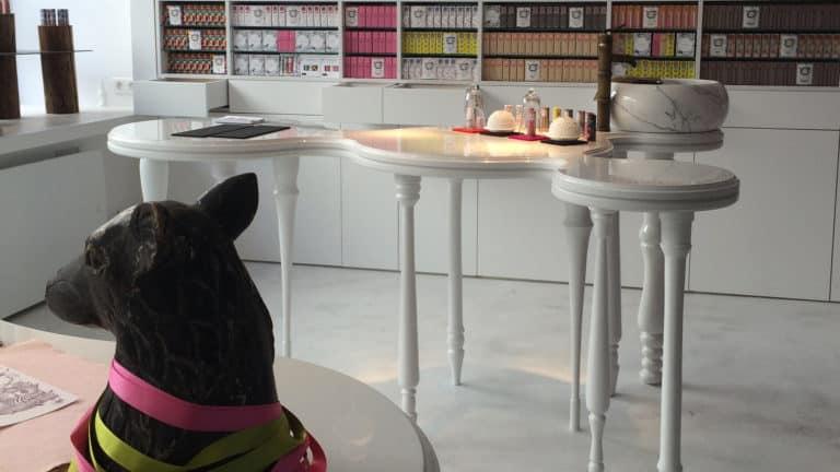 Métamorphose d'un ancien local artisanal. Transformé, l'écrin blanc abrite une boutique de parfums. Mystérieuse et singulière, la décoration est à l'image des produits qui y sont exposés : sol en résine incrusté de paillettes argentées, bibliothèque laquée miroir, immense table en bois massif recouverte d'une laque miroir blanche. Aux courbes sinueuses de la table, répondent celles de la vasque de marbre et du lustre soufflé en verre de Murano, créant une atmosphère poudrée aux accents baroques. - Finaliste du Concours ParisShopDesign 2015 -